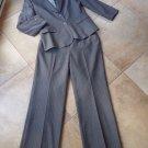 TAHARI Gray Classic Pinstripe Blazer And Pant Suit 14