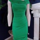 NWT BCBG MAX AZRIA Green Mona Ruched Bodycon Draped Stretch  Sheath Dress XS