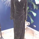TADASHI Brown Snake Print Silk Blend Velvet Long Sleeve Evening Gown Dress 14