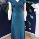 NWT Monsoon  Teal 100% Silk Embroidered Short sleeve Midi Sheath Dress UK 8
