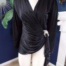 Vintage 80's Long Sleeve Strong Shoulder Wrap Top Shirt Blouse M