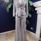 Bebe Grey Linen Blend 3/4 Sleeve Blazer & Wide Leg Pant Suit 10/8