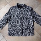 NWT TALBOTS Black Printed Cotton Blend Button front 3/4 Sleeve Blazer  Jacket 16