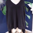 BLOOMINGDALES Black V Neck Shark Bit Uneven hem 100% Cashmere Sweater M