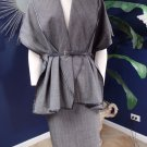 Adrienne Vittadini  Leather trim Striped Cape & Pencil Skirt Suit M/8