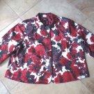 NWT TALBOTS Floral Print Cotton Blend 3/4 Sleeve  Blazer Jacket 24W