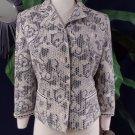 ELIE TAHARI Gray/Ivory Floral 3/4 Sleeve Snap Front  Blazer Jacket M