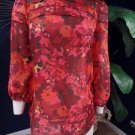 ANN TAYLOR LOFT Red Floral 3/4 Sleeve Top Shirt Blouse XS