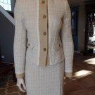 NWT BENETTON Classic Tweed Blazer & Pencil Pencil Skirt Suit 40