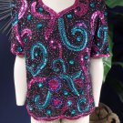Mark & John By Gopal Vintage Short Sleeve Beaded 100% SilkTop Shirt Blouse XL