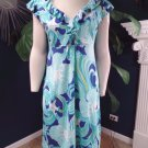 LILLY PULITZER Blue Seashell Print Silk Blend Jersey Sheath Dress M