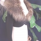 GUESS Cropped Faux Fur  Removable Collar Cardigan Sweater XS
