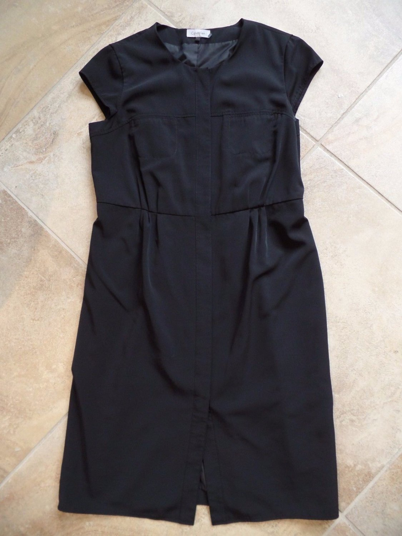 CALVIN KLEIN Black Button Front Shirt Dress 12