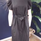 NWT J CREW Black Short Sleeve Belted Cotton/Silk Sheath Dress 8