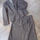 TALBOTS Brown Houndstooth 100% Wool  Blazer & Slight A Line Skirt Suit 10P/10