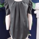 NWT Saint tropez Gray Short Sleeve Silky Top Shirt Blouse S