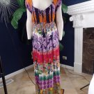 SOFT SURROUNDINGS Floral Print Peasant Maxi  Dress M