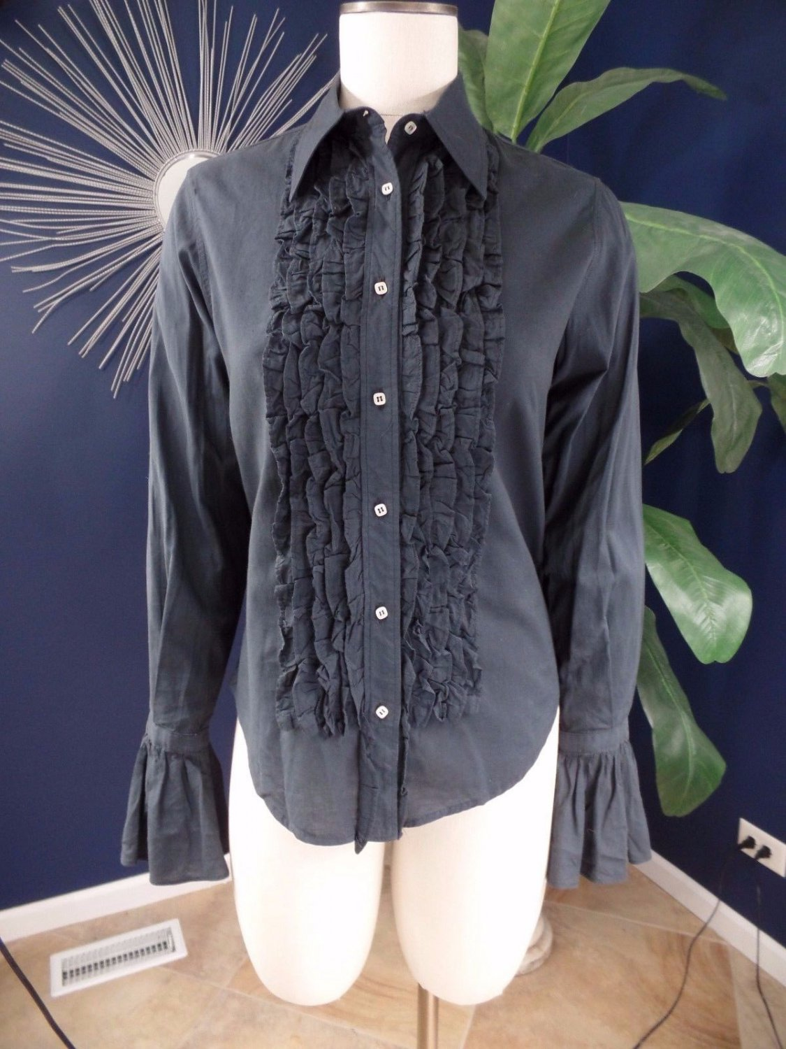 Miguel Ibars Gray 100% Cotton Ruffled Button Front Top Blouse Shirt S