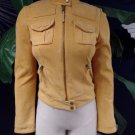 NWT Lucky Brand Yellow 100% Leather Suede Moto Zip Front Jacket XS