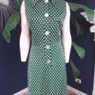 NWT Vintage 70's PRINTCRAFT Polka Dot Button Front Sleeveless Shirt  Dress M/L