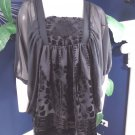 H&M Conscious Collection Black Chiffon/Velvet Kimono Top Shirt Blouse 6