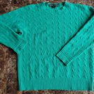 RALPH LAUREN BLACK LABEL Green 100% Cashmere Crewneck Cable Knit Sweater M