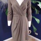 KAY UNGER Brown 3/4 Sleeve Faux Wrap Ponte Sheath Dress 8