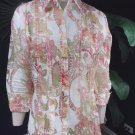 COLDWATER CREEK Floral Semi Sheer 3/4 Sleeve Button Front Top Shirt Blouse M