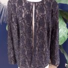 Patra Black Beaded Lace Long Sleeve Evening Jacket Blazer 24