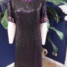 Jewel Queen Black Sequin 100% Silk Short Sleeve  Evening Cocktail Shift  Dress S