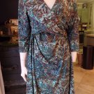 COLDWATER CREEK Floral 100% Silk Chiffon Fit & Flare Sheath Dress 16