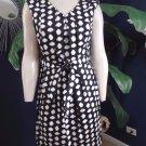 CALVIN KLEIN Sleeveless Black/White Polka Dot  Fit & Flare Sheath Dress 8