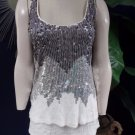 BEBE White Sequins Sleeveless Tunic top shirt Blouse XS