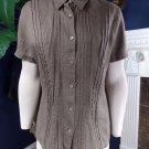 NWT J JILL Brown Button Front short Sleeve 100% Linen Top Blouse shirt M