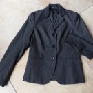 THEORY Black/Gray Pinstripe Cotton Blend Classic Jacket Blazer 0