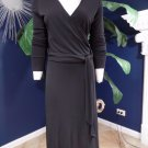 TALBOTS Black Stretch Faux Wrap Long Sleeve Sheath Dress 10