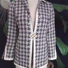 W WORTH Black/White Wool Blend Tweed Classic Jacket Blazer 4P
