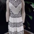 RED SAKS FIFTH AVENUE Black/White Lace Fit & Flare Sheath Dress XS