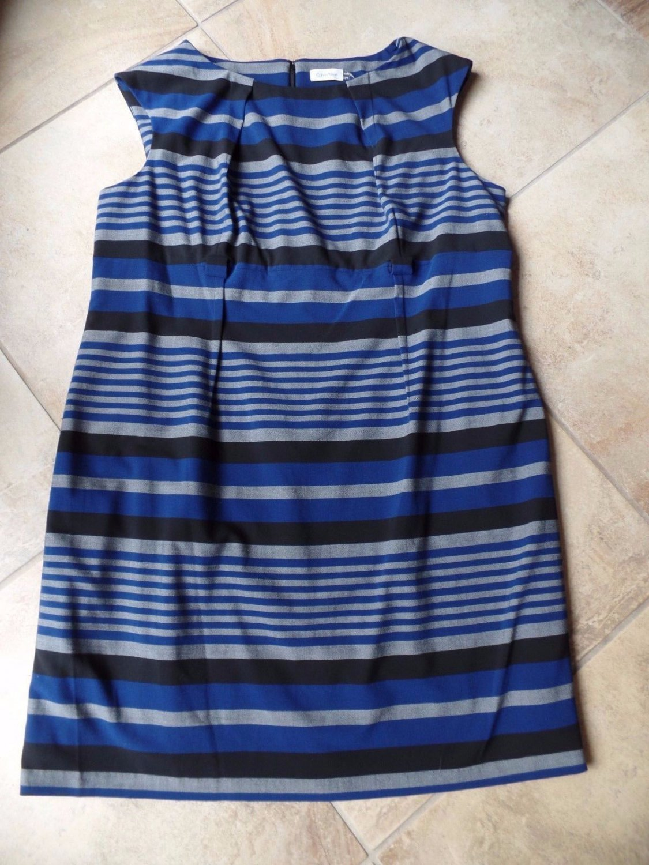 CALVIN KLEIN Blue/Black/Gray Striped  Sleeveless Sheath Dress 22W