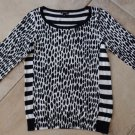 ANN TAYLOR Black/White Striped Animal Print Long Sleeve  Sweater S
