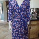 ANN TAYLOR Printed Faux Wrap Sheath Dress 10