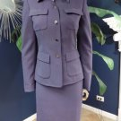 ANNE KLEIN Purple Wool Blend Blazer And Pencil Skirt Suit 4