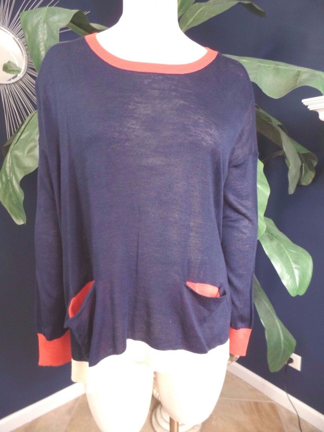 NWOT CECICO Boxy Striped Black Long Sleeve  Sweater S