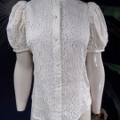 Mise en Scene RUFFIAN Anthropologie Floral White Eyelet Embroidered Top Blouse 4