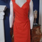 NWT NICOLE MILLER Collection Orange Linen Blend Ruched Sheath  Dress 8