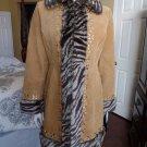 NWT BAGATELLE Suede Faux Fur Trim Beaded Jacket Coat 8