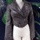 ASOS Brown Cropped 100% Leather Moto Jacket 8