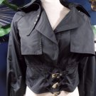 PER SE Black Crop Moto Nylon Jacket US 4