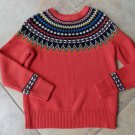 J CREW Orange Printed Ski Wool blend Crew-neck Sweater XS