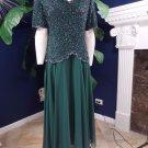 Brilliante Hunter Green Beaded Cocktail Evening Sheath Dress XL